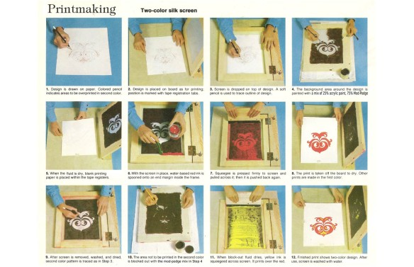 "screenprinting, from ""crafts and hobbies"", 1979, Readers Digest Association"
